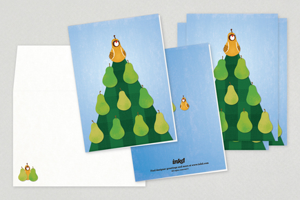Partridge Pear Tree Holiday Greeting Card Template