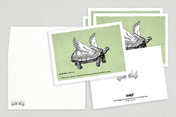 Turtle Dove Holiday Greeting Card Template | Inkd