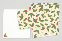 Holly Leaves Holiday Greeting Card Template