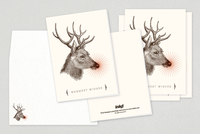 Reindeer Portrait Holiday Greeting Card Template