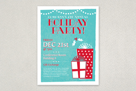 Classic Holiday Party Flyer Template | Inkd