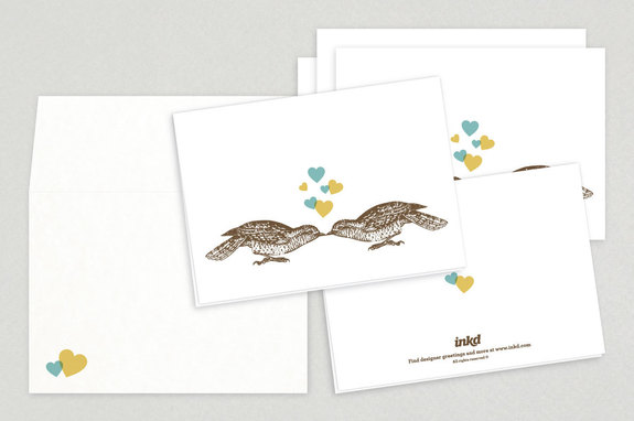 Illustrative Lovebirds Valentine's Day Cards