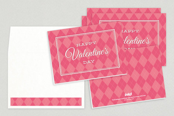 Pink Argyle Valentine's Day Cards