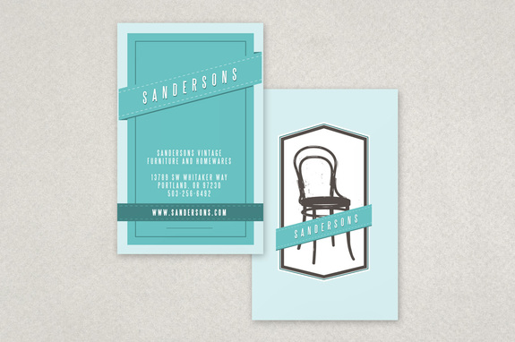 Teal Vintage Furniture Store Business Card Template Inkd