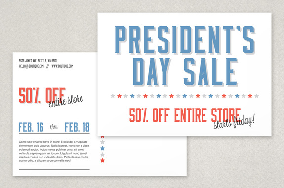 Classic Patriotic Sale Postcard Template