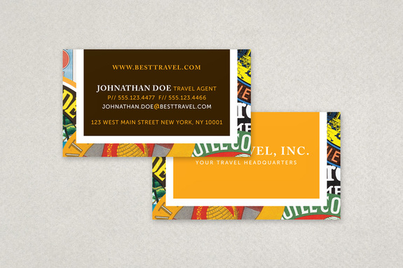 Travel Agency Business Card With Stamp Motif Template Inkd