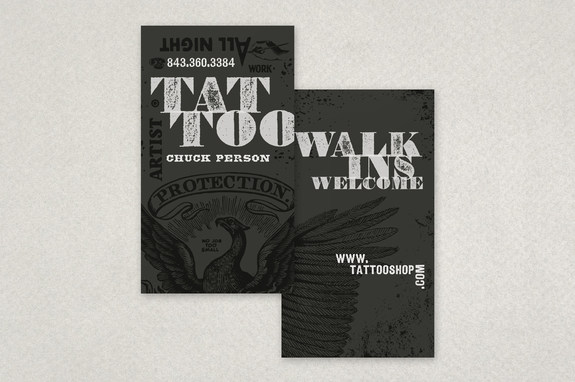 Distressed Type Tattoo Business Card Template Inkd - Tattoo business card templates