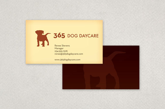 classic dog daycare business card template