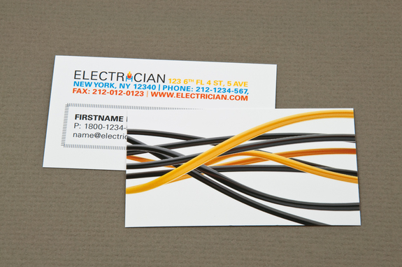 electrician business card with black wires template - Electrician Business Cards