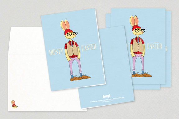 Hipster Easter Bunny Greeting Cards