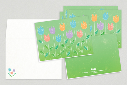 Spring Flowers Easter Greeting Card Template