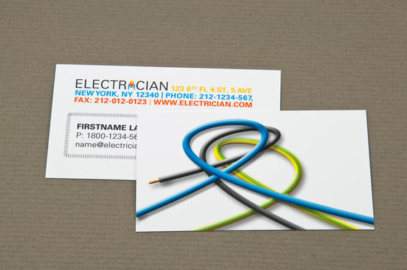 electrician business card with looped wires template - Electrician Business Cards