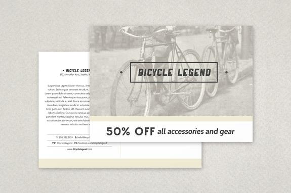 Bike Shop Postcard Template Inkd - Large postcard template