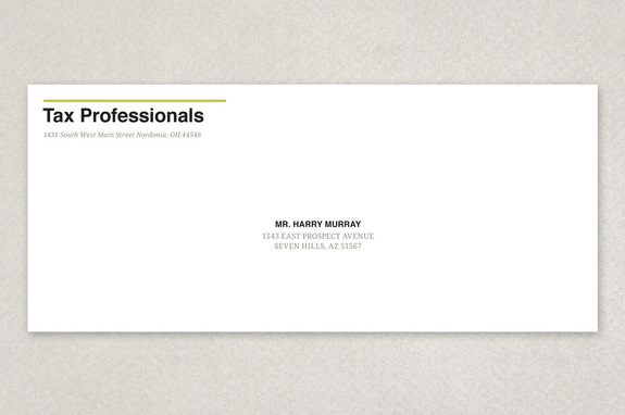 Tax Agent Envelope Template | Inkd