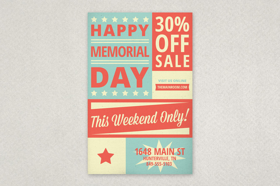 Retro Memorial Day Flyer Template | Inkd