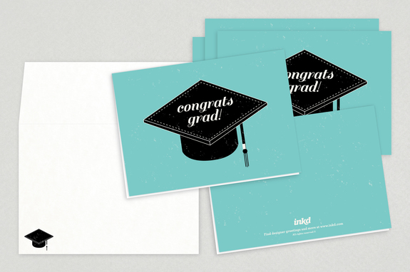 Graduation Cap Congrats Greeting Card Template  Inkd