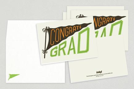 Congrats Grad Pennant Greeting Card Template