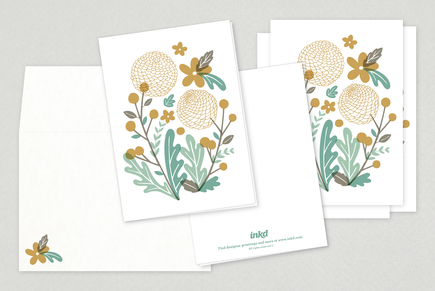 Wild Flowers Illustration Greeting Card Template