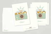 Retro Camera Illustration Greeting Card Template