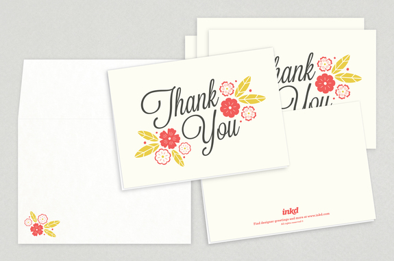 Floral Script Thank You Card Template Inkd