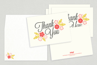 Floral Script Thank You Card Template