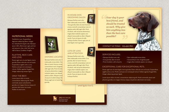 Classic Dog Daycare Brochure Template Inkd - Daycare brochure template