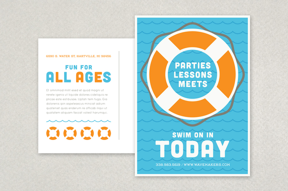 Swimming Pool Postcard Template  Postcard Templates Free
