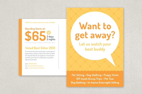 Pet Sitting Postcard Template