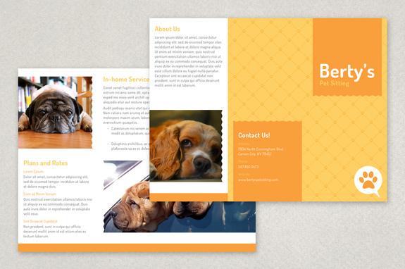 Pet Sitting Brochure Template Inkd