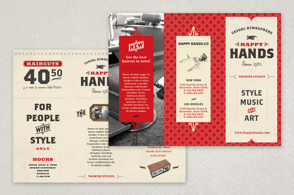 Retro Barbershop Brochure Template  Inkd