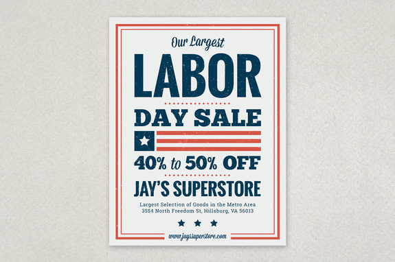 Wonderful Labor Day Sale Flyer Template