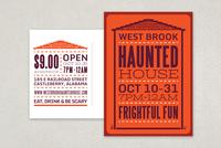 Halloween Haunted House Postcard Template
