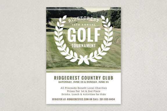 Golf Tournament Vintage Flyer Template | Inkd