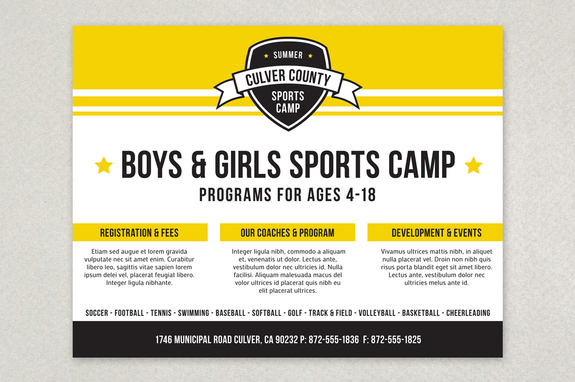 Energetic Sports Camp Flyer Template  Inkd