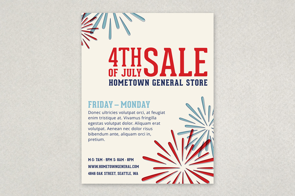 Fireworks Celebration Sale Flyer Template Inkd