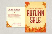 Autumn Leaves Postcard Design Template