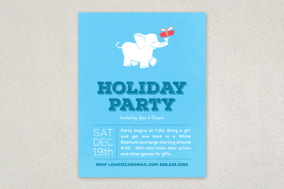 White Elephant Party Flyer Template  Inkd