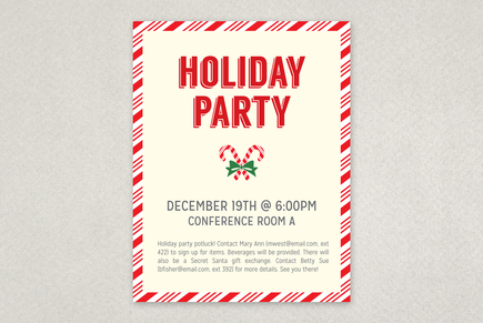 Candy Cane Party Flyer Template  Inkd