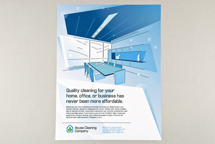 Blue Graphic Home and Office Cleaning Flyer Template | Inkd