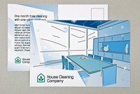 Blue Graphic Home and Office Cleaning Postcard Template