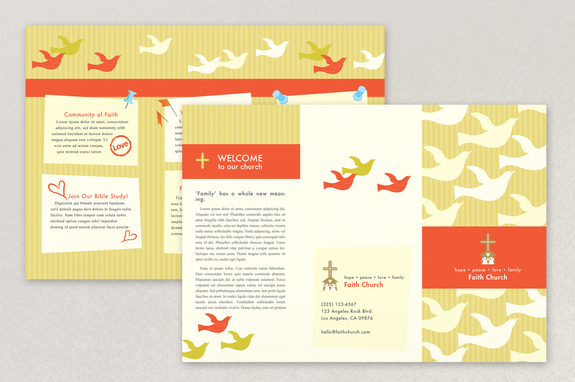 Bright Community Church Brochure Template Inkd - Free church brochure templates