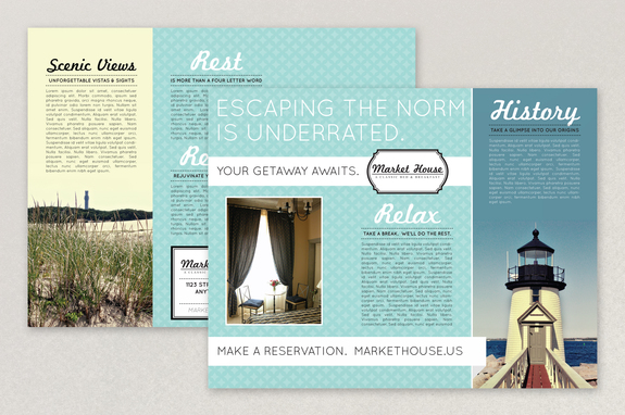 Nautical Bed And Breakfast Brochure Template Inkd
