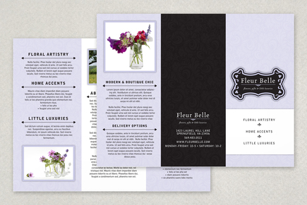 Floral gift boutique tri fold brochure template inkd for Brochure design for boutiques
