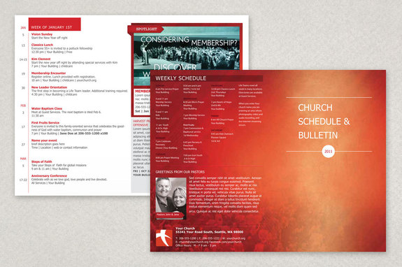 Modern Church Bulletin Brochure Template | Inkd